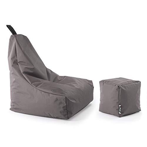 Patchhome Lounge Sessel + Würfel XL Gamer Sitzsack Sitzkissen Sitzsäcke Erwachsene Riesensitzsack Kinder fertig mit Styropor Füllung befüllt In & Outdoor geeignet in 2 Größen und 25 Farben Anthrazit