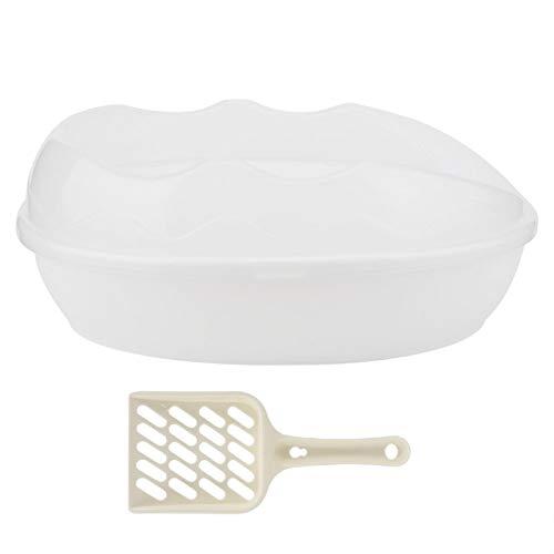 SALUTUYA Caja de Arena para Gatos de fácil Limpieza con Cuchara de Arena para Gatos Gratis para Gatos domésticos(White)