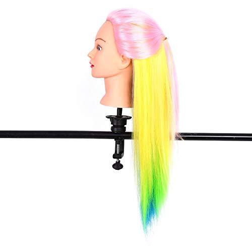 Cabezas de muñecas de peluquería, naturalmente Suaves y sedosas, 6 Colores Diferentes, Cabeza Modelo de maniquí con champú para peinar, Trenzado para peluquería(No. 2 Pink + Multicolor, 12)