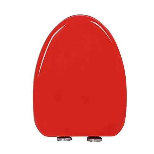 Hyzb Asiento de Inodoro Asiento de Inodoro en Forma de V con bisagra Ajustable Mute Tapa de Inodoro Ultra Resistente montada en la Parte Superior (Color : Red)