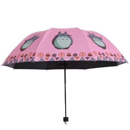 weichuang Paraguas encantador Totoro con revestimiento de plata, paraguas anti UV, sol y lluvia, paraguas plegable de tres paraguas (color: rojo)