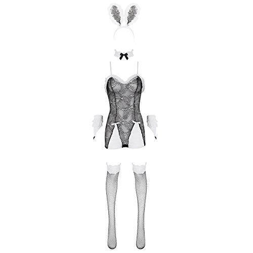 iEFiEL 5tlg. Damen Bunny Kostüm Cosplay Sexy Dessous Kostümset, Spitzen Bodysuit mit Häschen Ohren Stirnband & Halsband & Armbänder & Strümpfe Schwarz One Size