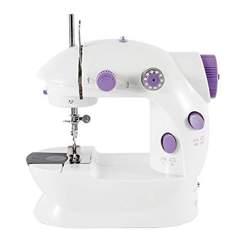 babytowns Elektrische Nähmaschine, Haushaltsnähmaschine, kompakte Zweifaden-Nähmaschine, 2-stufiges Fußpedal zur Geschwindigkeitsregelung, geeignet für Tischlampenanfänger, einfach zu bedienen