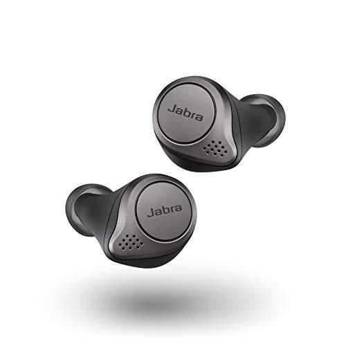 Jabra Elite 75t Titanium Black Voice Assistant Enabled True Wireless Earbuds with Charging Case (Renewed)
