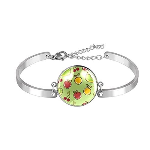 Verstellbares Armband Edelstahl Armreif Rot Apfel Kirsche Gelb Zitrone Mango Grün Edelstahl