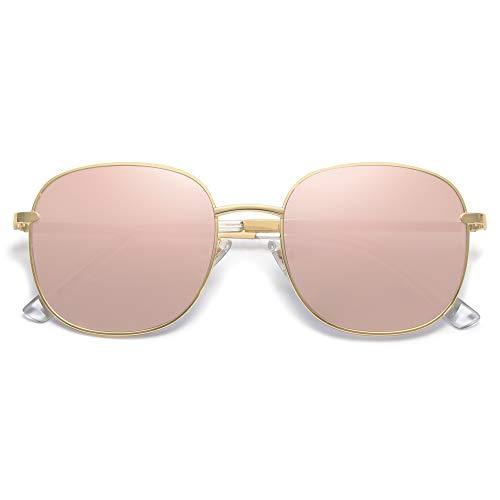 SOJOS Designer Rund Rechteckig Sonnenbrille Flat Verspiegelt Linse Metallrahmen SJ1137 mit Gold Rahmen/Rosa Verspiegelte Linse