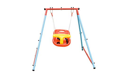Toddler Swing with High Back Seat and Safety Belt, Steel Frame Outdoor and Indoor Swing Chair