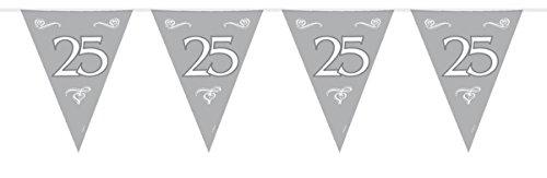 Folat B.V.- Folat 25 cumpleaños/aniversario Bunting Garland Silver, color plata (7451)