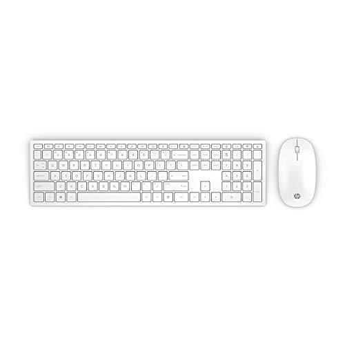 HP - PC Pavilion 800 Tastiera e Mouse Wireless, Tre Zone Tasti Freccia e Tastierino Numerico, Indicatore Led Maiuscole, Silenziosa e Reattiva, Ricevitore USB Incluso, Layout Italiano, Bianco