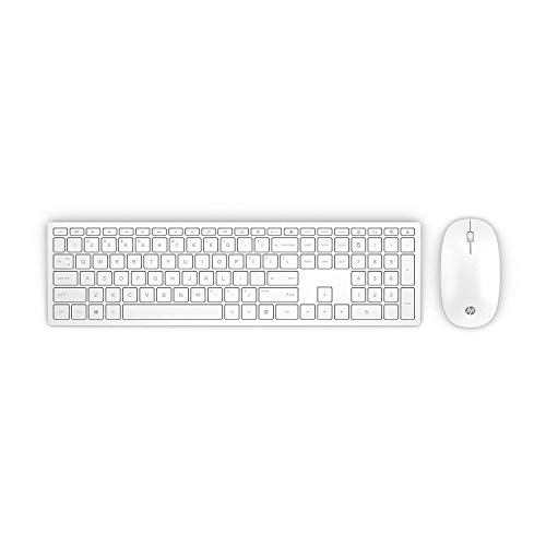 HP-PC Pavilion 800 Tastiera e Mouse Wireless, Tre Zone Tasti Freccia e Tastierino Numerico, Indicatore Led Maiuscole, Silenziosa e Reattiva, Ricevitore USB Incluso, Bianco [Layout Italiano]