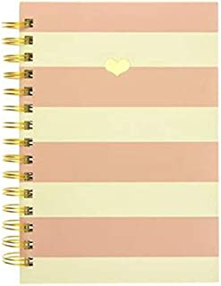 Graphique Pink Charm Hard Cover Journal, 160 Ruled Pages, Stately Pink and White Stripes & a Gold-Embossed Heart, 6.25