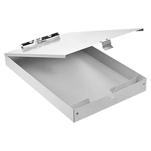 Amazon Basics Portablocco in alluminio con scomparto portadocumenti - 35,5 x 23 cm, a due piani, pinza standard
