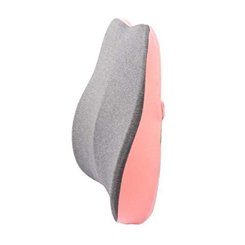 Qingzhuan Cojín de Apoyo Lumbar para la Espalda Fundas Lavables de Espuma Viscoelástica Cojines de Silla Que Previenen el Dolor de Espalda (Rosa)