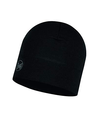 Buff Midweight Merino Wool Mütze, Solid Black, One Size