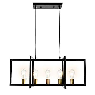 Modern Kitchen Island Light Pendant Chandelier 5-Light Ceiling Light Industrial Pendant Lighting Fixture Matte Black with Antique Brass Finish