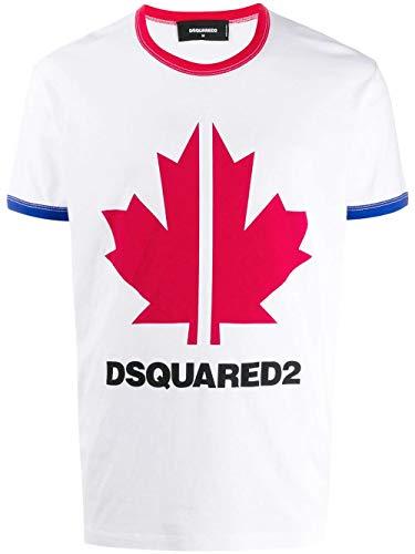 DSQUARED2 Luxury Fashion Uomo S74GD0695S22507100 Bianco Cotone T-Shirt...
