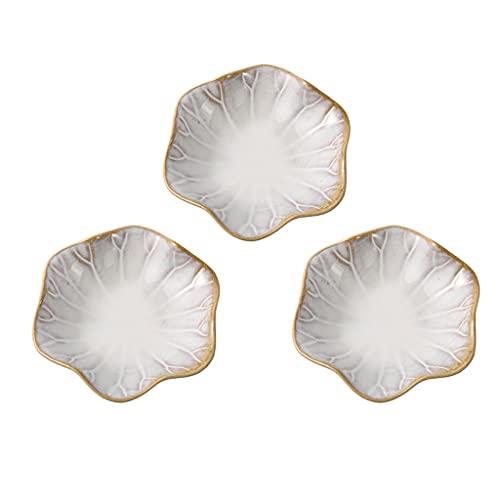 Platos de aperitivo 3 unids Cerámica DIP BOTS SALSE PLATOS Forma de flores Conjuntos de cerámica Conjuntos de platos Sirviendo platos Sushi Platos de soja para aperitivo de frutas Postre Platos para s