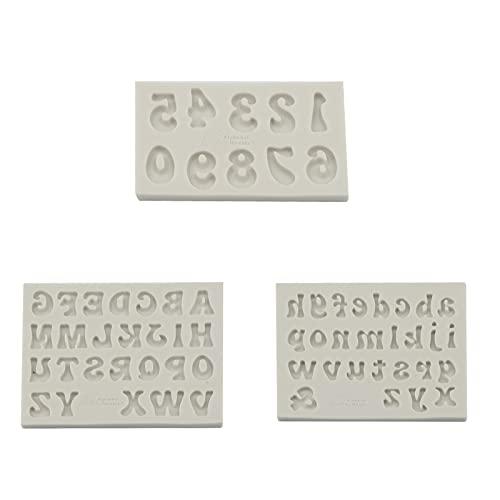 SAVITA 3 Pezzi Stampi per Lettere in Silicone Stampi per Numeri in Silicone, Stampi per Alfabeto in Silicone per Fare Torta di Cubetti di Ghiaccio Fondente Budino al Cioccolato Sapone Resina