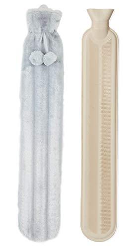 Bolsa de Agua Caliente con Funda en Piel Sintetica Calentador Cama Extra Grande 2l 72 cm (Vison)