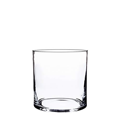 INNA-Glas Set di 3 x Vaso cilindrico in Vetro Sansa, Trasparente, 15cm, Ø15cm - Vaso da Fiori/Portacandela Decorativo