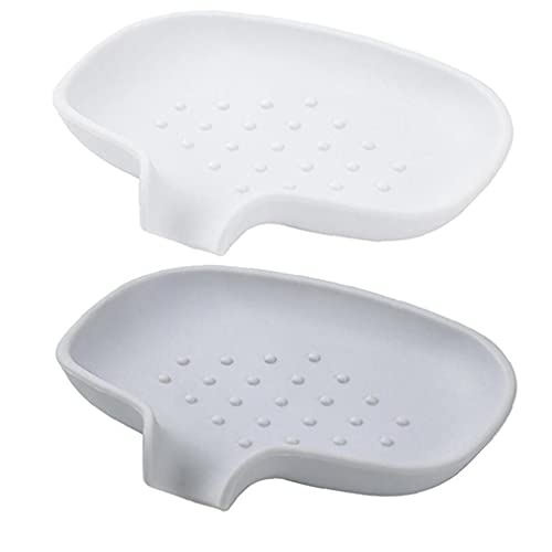 jieerrui Soap Holder, Soap Tray, Silicone Soap Holder, Soap Dish, Sponge Holder,Tray Saver Silicone with Drain for Shower Sink Bathroom Kitchen Counter Top White Grey 2PCS