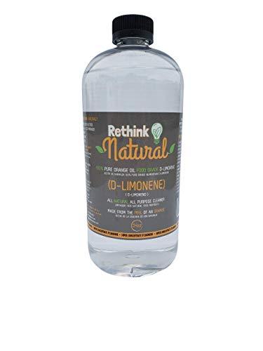Rethink Natural Food Grade d-Limonene - Stain remover, Floor cleaner, Degreaser, Glass cleaner, Multi-Purpose, Citrus Cleaner, Deodorizer, Stain Remover (34oz)
