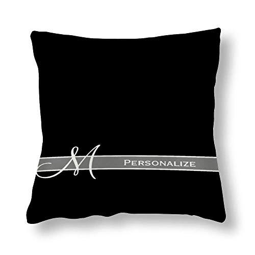 Perfecone Home Improvement - Funda de almohada de algodón para cama de matrimonio, diseño de monograma en blanco y negro con nombre, 1 paquete de 45 x 45 cm