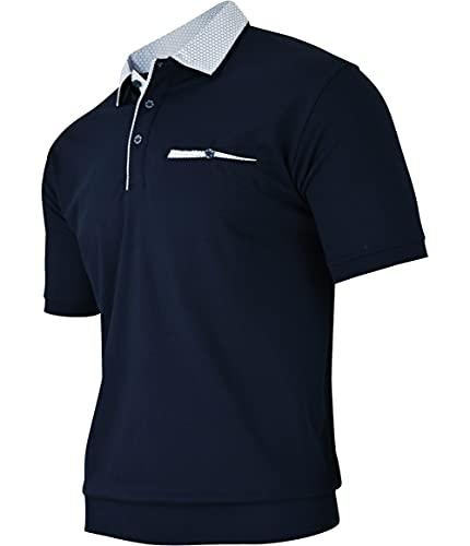 Humy Herren Kurzarm Polo Shirts, Polohemd, Blouson Shirt mit Kragen, Gestreift (M bis 3XL) (M, [M4] Navy 100)