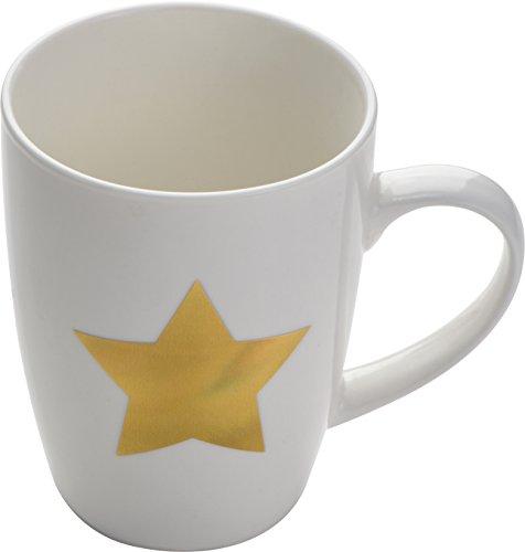 noTrash2003 Taza de café o taza de café con diseño de estrellas doradas, capacidad aproximada de 300 ml.