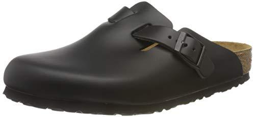 Birkenstock Unisex-Erwachsene Clogs & Pantoletten, Schwarz - Black Leather - Größe: 45 EU N