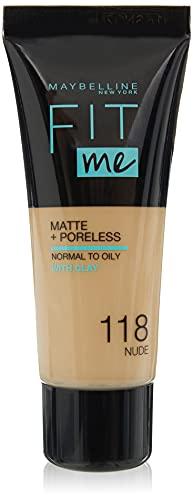 Maybelline Base de Maquillaje Fit Me (Mate y Sin poros), Tono 118 Light Beige - 30 ml