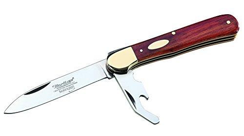 Hartkopf Solingen Couteau de Poche à tête Dure pour Adulte en Acier 4110, avec Blocage de la Lame, Coque en Bois Rouge, Mors en maillechort argenté, Multicolore, Taille Unique