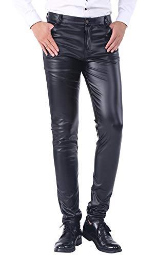 DUOLUNJINDUN Herren Slim Fit Hose aus PU Leder Elastisch Bikerhose Lederjeans Winddicht und Wasserdicht - Schwarz Größe 38