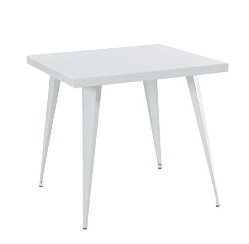 THC Living® Industrial Look Metall Küchentisch - 80x80cm Bistrotisch - Esszimmertisch quadratisch (Weiß matt)