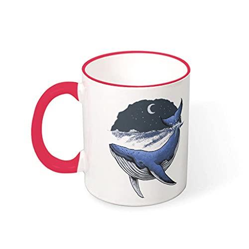 COMBON Shop Taza de café con diseño de ballena y luna con mango de cerámica divertida taza - Navidad roja1 330 ml