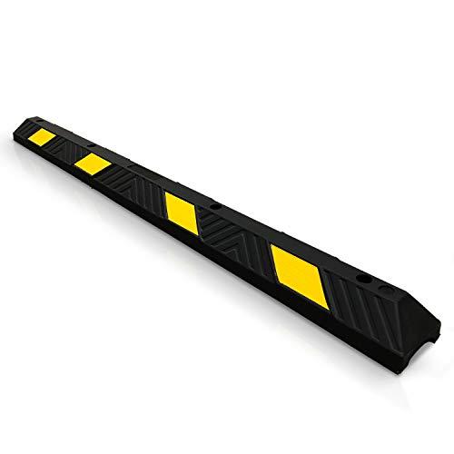Betriebsausstattung24® Parkplatzbegrenzer | Radstopp | Mit gelben Reflexstreifen | Seitliche oder frontale Anwendung | Hartgummi | gelb/schwarz | Größe: (183,0 x 15,0 x 10,0 cm)