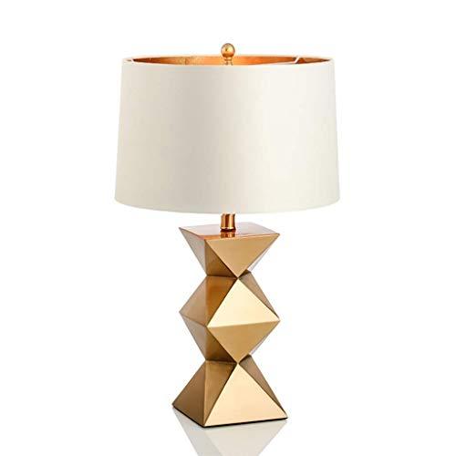 Schlafzimmer tischlampe, goldene dekorative tischlampe, moderne wohnzimmer schlafzimmer hotel nachttischlampe, kreative geometrische kunst lampenkörper mit eleganten tuch lampenschirm design, hohe 60