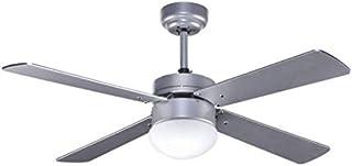 Ventilador de techo plateado TRAMONTANA con luz y control remoto, Fabrilamp.