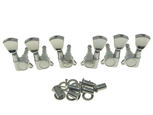 Wilkinson 3L3R Chrome E-Z Post Guitar Tuners EZ Post Guitar Tuning Keys Pegs Machine Heads with Tulip Button for Les Paul or Acoustic Guitar