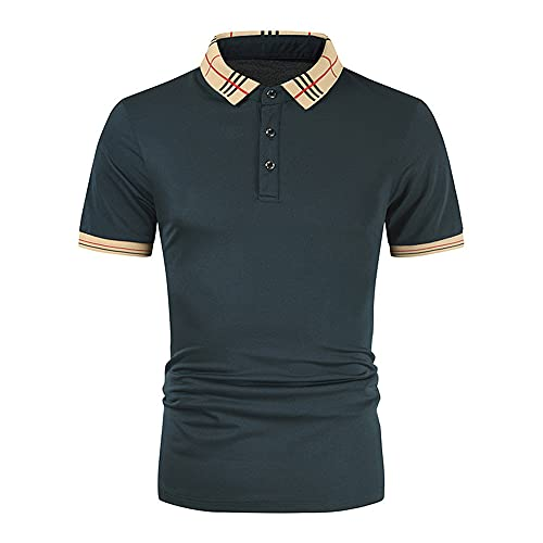 Casuales Camisas Hombre Verano Slim Fit Botón Placket Moderna Hombre Shirt Urbana Moda Básico Elástico Empalme Manga Corta Diario Casual Transpirable Polo Shirt