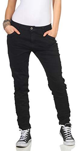 Karostar Chino Jeans Donna Baggy Pantaloni Boyfriend Pantaloni Vita Bassa 19 - Nero, 38