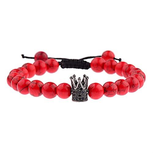 OYZK 8mm Ball Rote Natursteinperlen Armbänder Für Frauen Armreifen Männer Schmuck (Metal Color : ABL017 5)