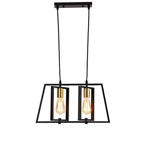 Retro GDS ljuskrona vintage industriell svart järn hängande personlighet 2-lågor matbord hänglampa vardagsrum matsal sovrum arbetsrum hängande lampa L 48 cm x B 40 cm E27 max 40 W
