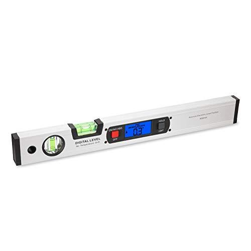KKmoon Digital Wasserwaage Winkelmesser 2 in 1 LCD Dislplay 400mm 360° Neigungsmesser mit vertikalen/horizontalen Blasen und Magnetische Bodenplatte