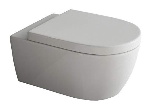 Design Hänge WC | Spülrandlose Toilette | Wand-WC | WC-Set | Inkl. abnehmbaren WC-Sitz mit Softclose Absenkautomatik | Lang | 545 x 360 x 330 mm
