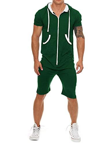 Coshow Mono para hombre, mono para correr, chándal deportivo, camiseta y pantalón corto de entrenamiento, pantalones cortos, tallas de S a XXL, verde oscuro, S