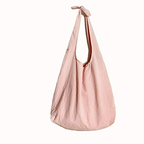 Cotton Linen Reusable Bulk Storage Bags ,Grocery Bread Fruits Bags,Pure Color Cloth Washable Tear-drop Tote Shopping Organic Cotton Muslin Produce Bags By WoSiy (Pink)