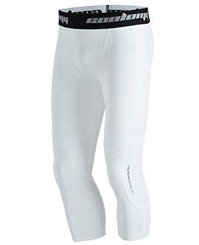 COOLOMG Youth Boys' Compression Leggings Girls' Base Layer Sport Pants Basketball Running Workout Training Tights White S