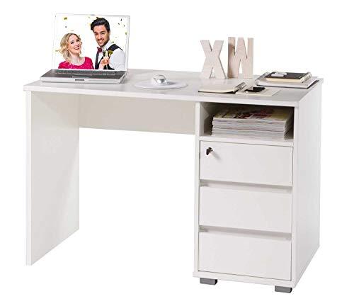 Schreibtisch Computertisch Arbeitstisch | Weiß | 3 Schubladen | Abschließbar | 110x65 cm