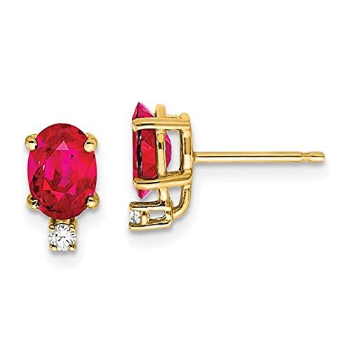 Jewelry-14k 7x5mm Oval Ruby VS Diamond Earrings